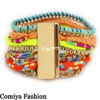 Wholesale New pulseiras brand fashion Bohemia neon colorful rainbow wicca ibiza gold bracelets bangles jewelry bijoux cc from india