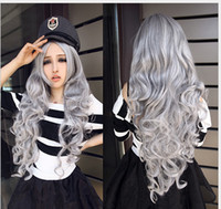 Wholesale 2016 new wigs woman fashion cosplay wig cm inch Very long Big waves silver white