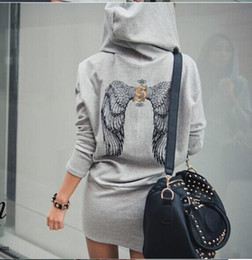 Wholesale 2014 New Autumn and Winter Korean wild Slim behind the wings of high quality printing hooded Women casual sweater dress