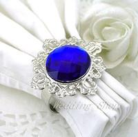 Cheap Free DHL Shipping-Lowest price--150PCS Royal Blue Gem Napkin Rings Wedding Bridal Shower Wedding Favor-HOT&Promotion