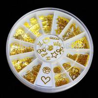 Cheap 180pcs Gold Nail Art Metal Sticker Decoration Acrylic Tips Metal Slice Wheel Tiny Mixed Design +Wheel