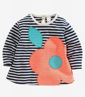 apple brand clothing - 2015 Autumn New Children Clothes Girls T shirts Apple Print Stripe Long Sleeve Girls T shirts Y