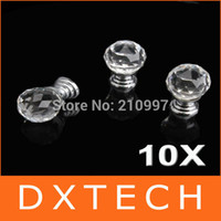 Cheap Wholesale 100 Pcs Lot By EMS+ Diam 20mm Round Crystal Glass Cabinet Knobs Drawer Pull Furniture Handle
