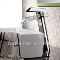 Wholesale Contemporary Chrome Finish Basin Faucet Mixer Single Handle Glass Faucet Bathroom