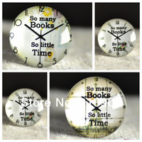 cabochons - Fashion mm Clock Cabochons quot So Many Book So Little Time quot Glass Cabochons Flat Back Embellishments for fashion Jewelry
