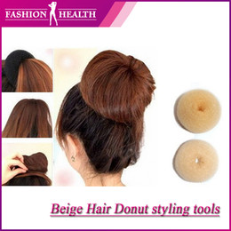 Wholesale price Lowest price of Ali Women hair styling stool Hair Donut Beige color Headwear Tool soft hair Bun ring