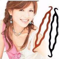 Wholesale cheap plastic hair ornaments Hot bun maker with double hooks Hair braiders Many colors Bridal bun former