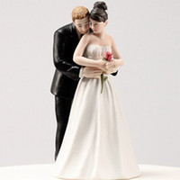 Wholesale 2015 Brand New Wedding Favors White Black Bride Groom Wedding Cake Topper Cake Toppers in Wedding Yes to the Rose Cake Topper CM