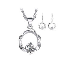 Crystal, Rhinestone beautiful jewelry - Beautiful Necklace Earring Set Sterling Silver on Platinum Plated Luxury Austria Crystal Hoop Style Jewelry Set OS31