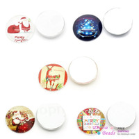 Wholesale Glass Dome Cabochons Round Mixed Color Christmas Santa Claus Tree Snowman Reindeer Message Printed mm Dia B28952