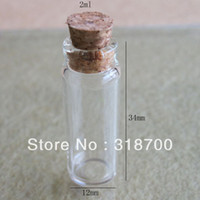 Cheap Free Shipping - 50pcs lot factory wholesale cute 2ml glass vials,2cc Glass Bottles,2ml small bottles with corks