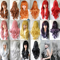 Cheap Free Shipping women 80cm Red Pink Black Brown Blue Yellow White heat resistant wave anime cosplay wig costume party wigs