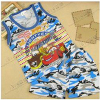 Cheap Wholesale-The 2013 Summer Boys camouflage T-shirt Shorts 2 piece set of ultra low price