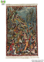 Wholesale High end lines natural environmental Persian handmade silk tapestry for home or hotel use P500T2540087