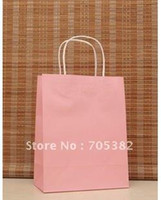 Cheap 27*21*11CM, Pink paper bag with handle, Christmas bag, Wholesale price, Free shipping(ss-475)