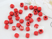 Cheap Set of 200pcs red wood wooden beads applique charm 8mm for DIY bracelet handmade project -MK0197