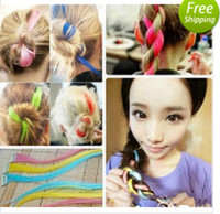 Wholesale Fashion Fluorescence Colorful Fibler Clip on in hair long piece Streaked Wig Straight extensions extension with ndividual opp bags