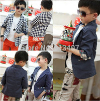 Cheap Free shipping 2014 clothing Polka Dot sleeve plaid wave point jacket children suit boy plaid coat blazers formal dress fashion