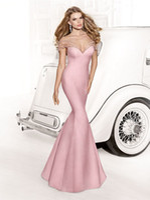 Cheap 2014 Tarik Ediz Pageant Dresses Sweetheart Mermaid Pink Satin Floor Length Crystal Bow Backless Prom Evening Gowns