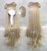 Cheap Free Shipping 2013 100cm women japanese long wave blonde anime character cosplay hair bag waves anime cosplay wigs