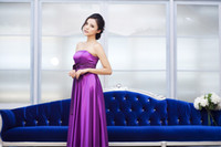 Wholesale High Quality Silk like Satin Strapless Floor length with Ribbon Formal Long Purple Prom Dresses