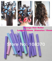 Cheap Wholesale-40pcs 15cm Curler Makers Soft Foam Bendy Twist Curls DIY Styling Hair Rollers Sponge Tool for Women Accessories