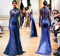 Wholesale Sexy High Neck Mermaid Count Train Evening Dress Covered Button Applique Beaded Crystal Folds See Though Long Sleeve Tulle Evening Dress