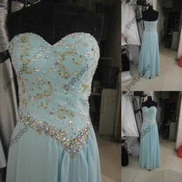 Wholesale Aqua A Line Sweetheart Neckline Chiffon Prom Gowns Luxury Beading Evening Dress Party Dresses Sweep Train