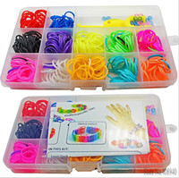 Cheap Hot sell !! 2014 New Arrival Toy Gift Loom bands Kits Fun Loom Rubber bands Kit DIY Bracelets Colorful Children Toy Free Ship