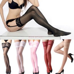 Wholesale Hot Sexy Women s Thigh Highs Stockings Lace Stocking Top Solid Black White Red Pink Nude Stay Up Club Pantyhose For Lady SV001134