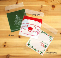 Wholesale 10 cm Merry Christmas Tree Colorful Self Adhesive Bag Retail Package Bags For Cookies Cake bread Dessert Candy Gift Packing