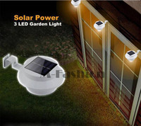 Wholesale 3 LED Solar Powered Fence Gutter Light Outdoor Garden Wall Lobby Pathway Lamp Solar Panel Home Decor TK1414
