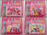 Wholesale New My little Pony Kids wallet and watch sets gift cartoon girls boys children quartz purse frozen spiderman watches