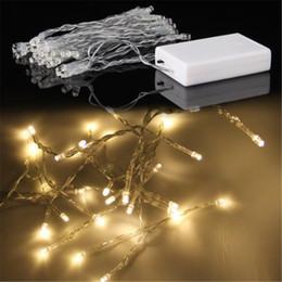 2017 luces de hadas blancas con pilas 3xAA batería 40 cadena de LED de potencia Mini Luz de Navidad con pilas blanco / caliente azul / luces Blanco / amarillo / verde / púrpura Decoración de Navidad luces de hadas blancas con pilas Rebaja