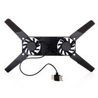 Wholesale 2 Fan USB Cooler Pad Folding Laptop Cooling Fan Black for PC Computer Components C143 DHL Free