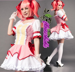 Wholesale 2015 hot sale time limited women latex catsuit cosplay pink dress japanese anime clothing puella magi madoka magica kaname