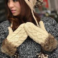 Wholesale MIX order Winter thermal women s halter neck yarn twist yarn gloves thickening plus velvet faux