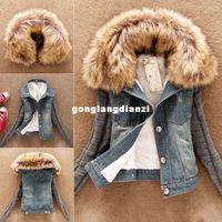 blue jean jacket - Details about Autumn and winter Ladies Lamb Fur Collar Slim Short Jean Jacket Women Warm Coat