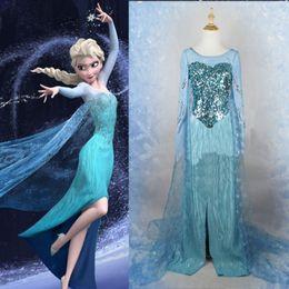 Wholesale Details about Movie Frozen Princess Elsa Dress Cosplay Costume Adult Women Fancy Dress Sz XXL