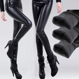 Wholesale Sexy Women Faux Leather Stretch High Waist leggings Pants Tights Street Style Ladies Thick warm Tights Cheap women leggings winter Clothe