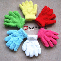 Wholesale 10 pairs pairs Candy color multicolour solid color five fingers kids gloves infants white gloves dance mittens winter child
