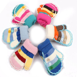 Wholesale Gloves for Kids Striped Knitted Buttons Decoration Warm for Winter PSM030