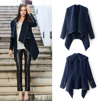 Wholesale New Fashion Women Asymmetric Coat Asymmetric PU Edge Zipper Cuffs Warm Jacket Outerwear Dark Blue G0679