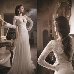 2015 Zuhair Murad Vestidos De Novia Backless Wedding Dresses Lace Long Sleeve Applique Sequin Court Train Bridal Gowns
