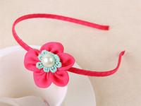 Wholesale 2014 new Christmas Children hair hoop pearl embroidery candy colors hair band TS0707