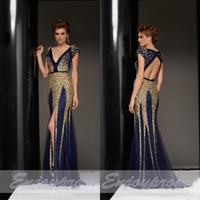 key caps - Top Selling Custom Made Evening Dresses Fabulous Navy cap Sleeves Gold Blink Crystals V neck Side Slit Key Hole Backless Formal Gowns