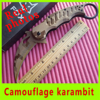 Cheap Real picture New Promotion Free Shipping fox claw camouflage karambit quality folding camping Hunting Fighting Knives 229X