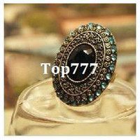 Cheap # R013 Vintage jewelry Sapphire Stone Black Onyx Brass Adjustable Fashion Ring rings for women Wholesale A