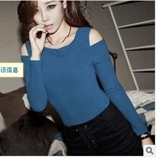 2014 New Arrival Women Fashion Shoulder Hole Long Sleeve T
