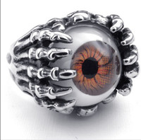 punk - Good Quality Punk Rock Biker Silver Ghost Skull Claw Ring HOT Selling L Stainless Steel Beautiful Orange Eyeball Rings